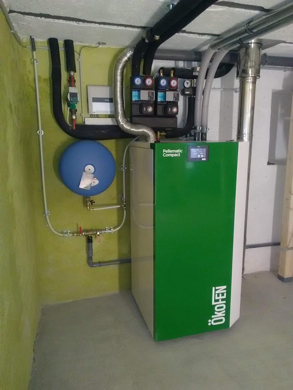 RGE QualiBois - Installation chaudière granulés de bois OKOFEN PES216 à système d'aspiration de granulés avec silo textile KGT2620FR