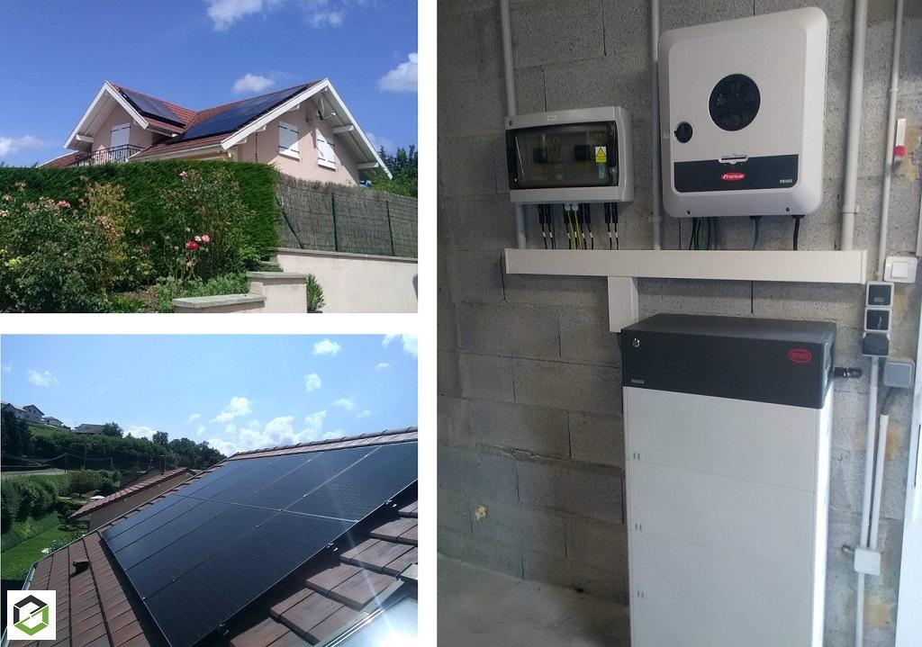 Installation panneaux solaire photovoltaique 7.125 kWc auto consommation avec batterie, découplage réseau et vente surplus-Haute Savoie (74)