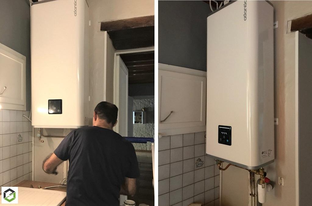 Installation d'un chauffe eau électrique Atlantic pour la production d'eau chaude