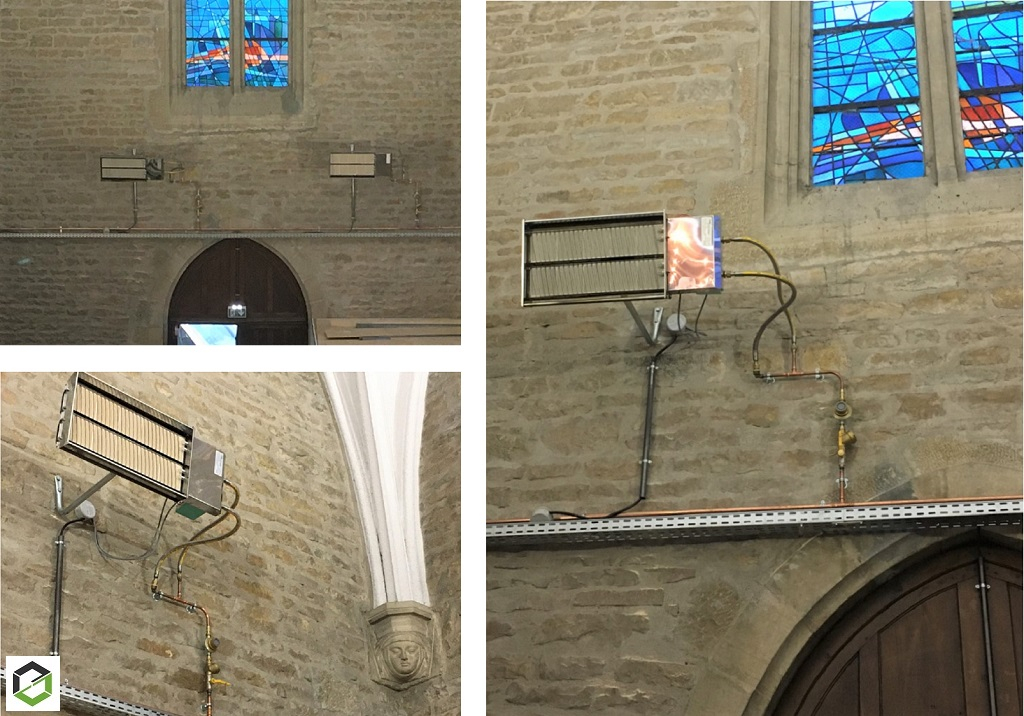 Installation radiants lumineux et raccordement gaz dans une chapelle à Dijon