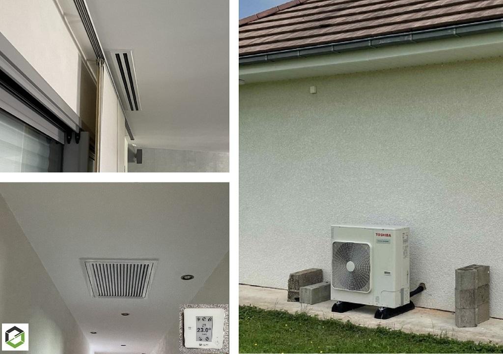 Installation climatisation réversible gainable Toshiba avec système de régulation AirZone