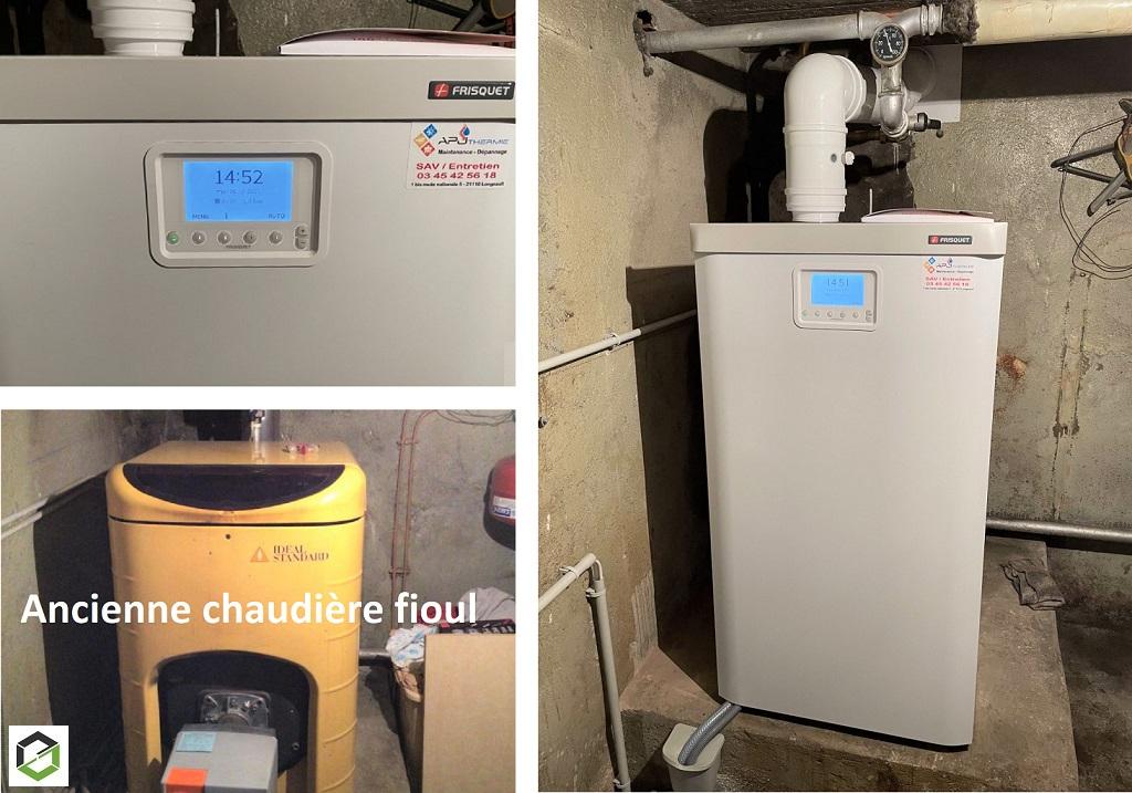 Remplacement d'une chaudière Fioul Non condensation par une chaudière gaz  condensation à très haute performance énergétique FRISQUET