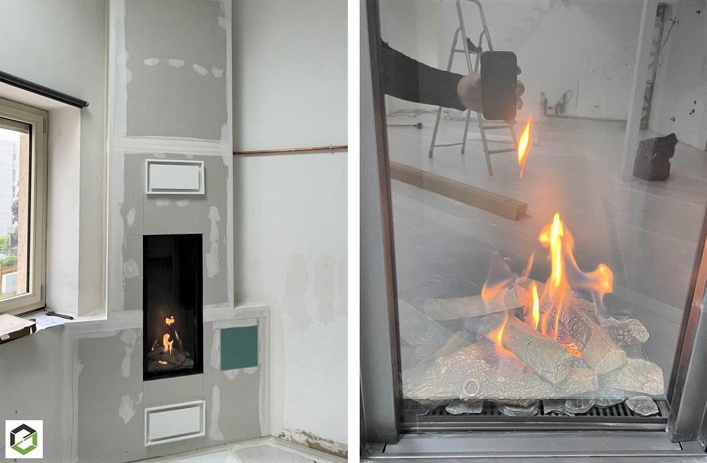 Installation d'un insert à gaz dans un loft au centre ville de Dijon