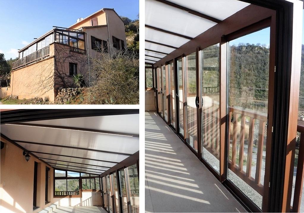Notre réalisation - Pose de véranda aluminium Wicona grande dimension-Aveyron (12)