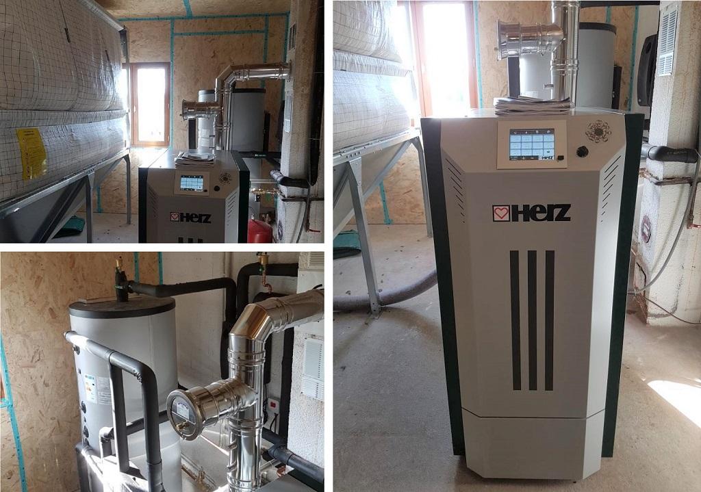 Installation chaudière à granulés HERZ - entreprise chauffage au bois