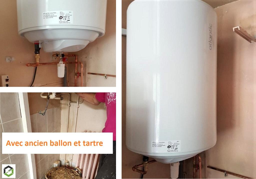 Dépannage et remplacement d'un ballon d'eau chaude électrique.