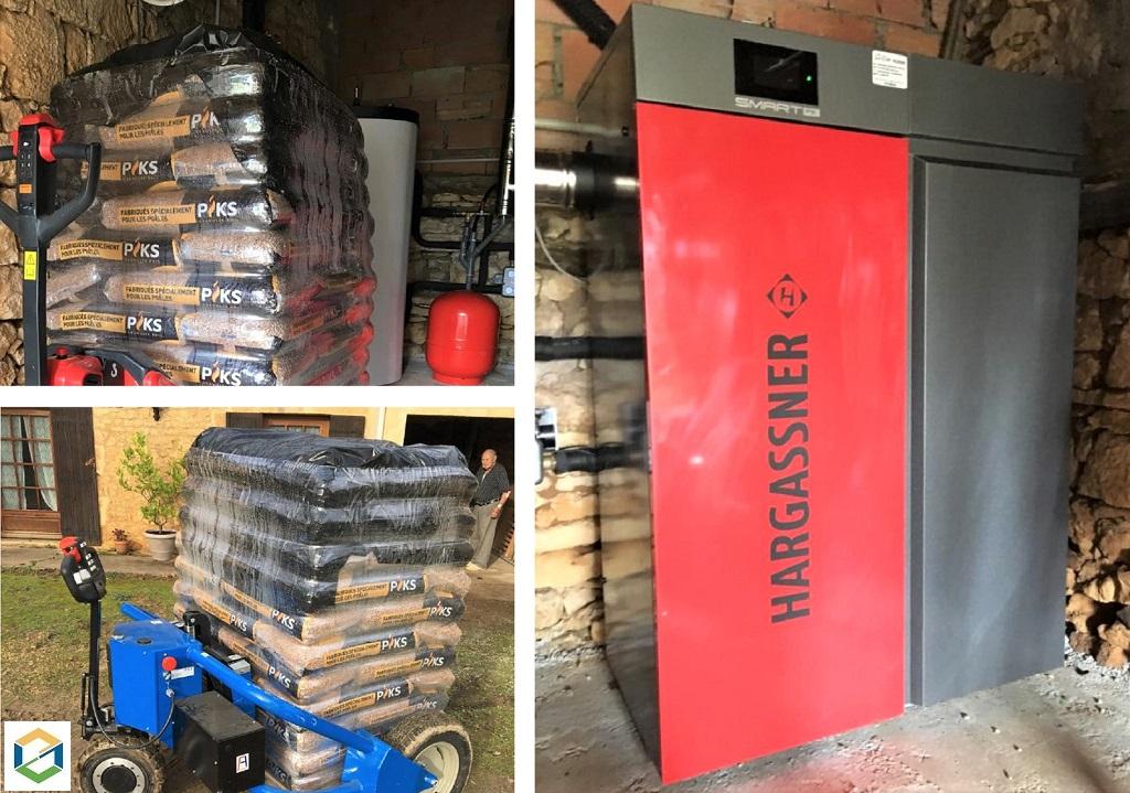 Livraison de palette de granulés de bois en sac