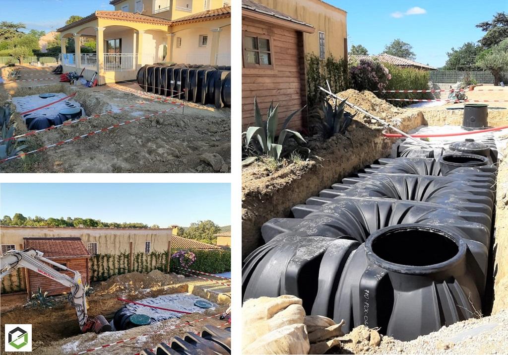 Installation de cuves de récupération d'eau de pluie avec système de pompe