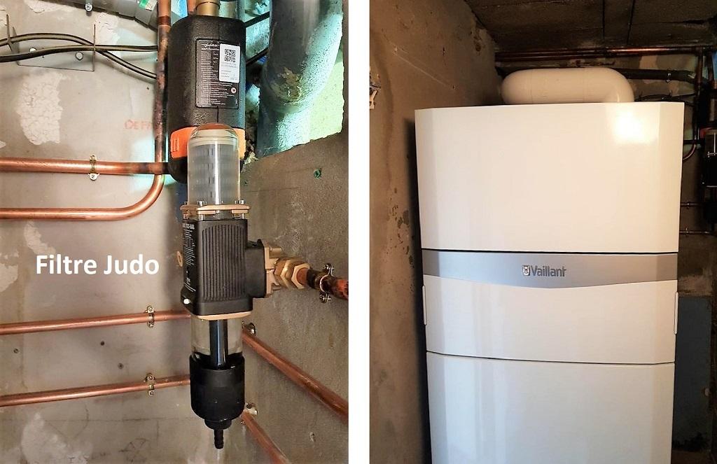 Installation chaudière gaz condensation VAILLANT au propane avec traitement d'eau Judo