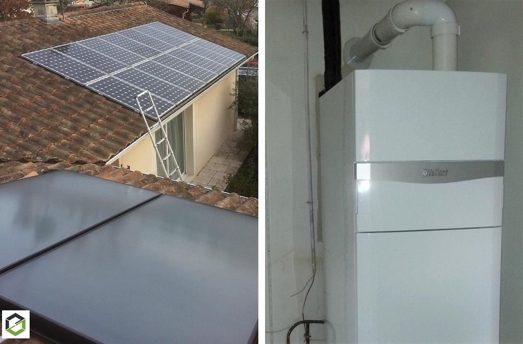 Installation d'un Chauffe-eau solaire intégré à une chaudière gaz à condensation Vaillant
