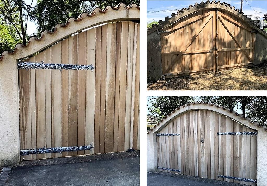 Réalisation d'un portail de clôture en chêne 86 VIENNE
