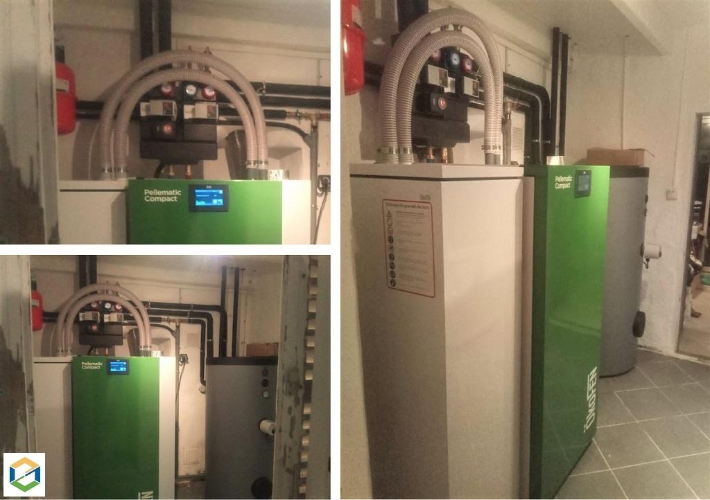 Installation d'une chaudière à granulés OKOFEN - Pellematic  Compact 10 KW + ECS ( Eau Chaude Sanitaire)