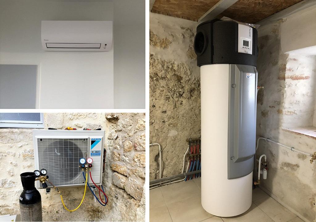 Rénovation énergétique de deux logements : Chauffe-eau thermodynamique, climatisation et salle de bains-Gers (32)