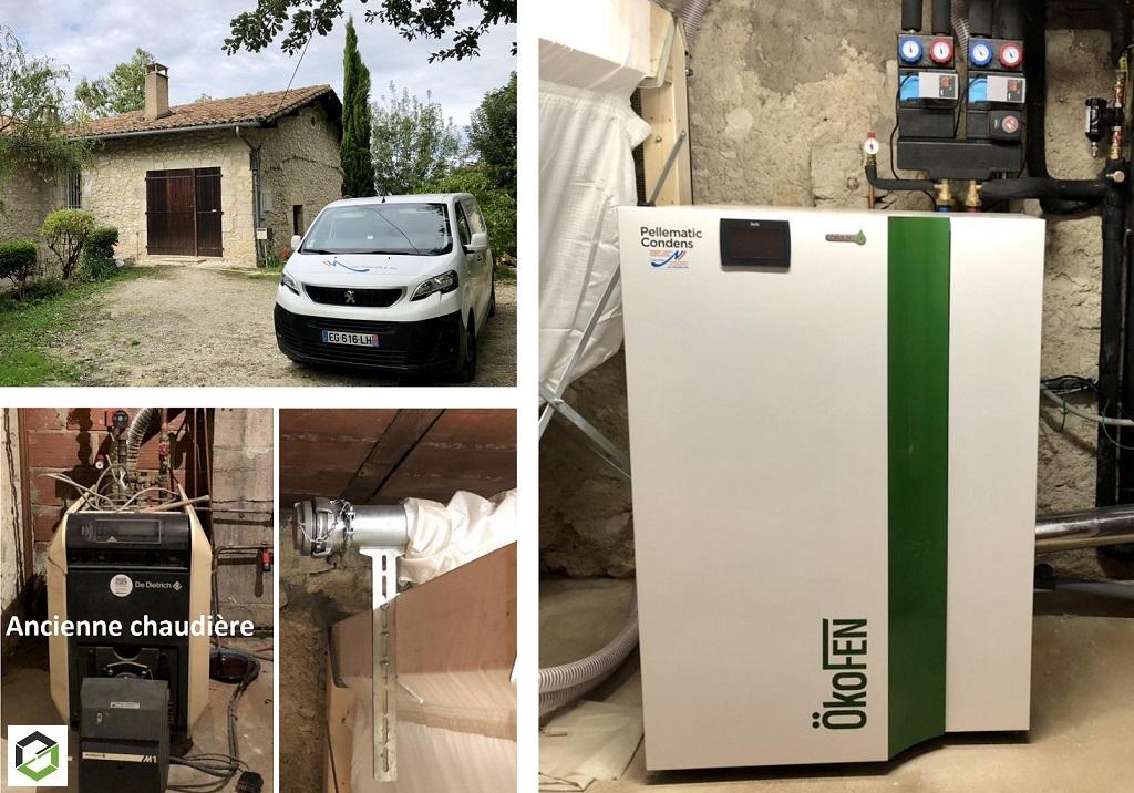 Installation chaudière pellets Ökofen RGE QUALIBOIS -Gers (32)