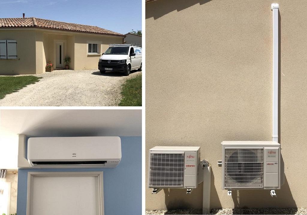 Installation d'un chauffe-eau thermodynamique et d'une climatisation réversible ATLANTIC