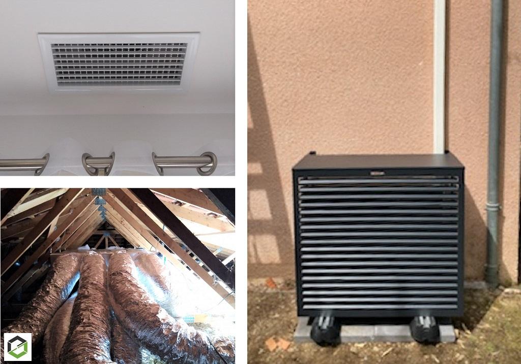 Pose d'une climatisation réversible (pompe à chaleur  air air) Daikin gainable avec Airzone