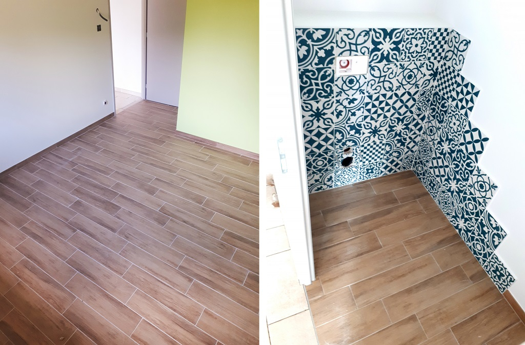 pose carrelage imitation parquet