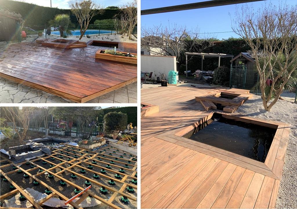 Terrasse en bois et bassin de jardin