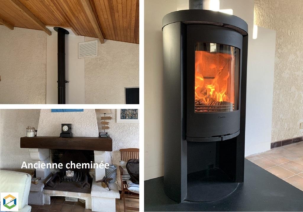 Démolition d'une cheminée à foyer ouvert et installation d'un poêle à bois Contura 520 à Hourtin