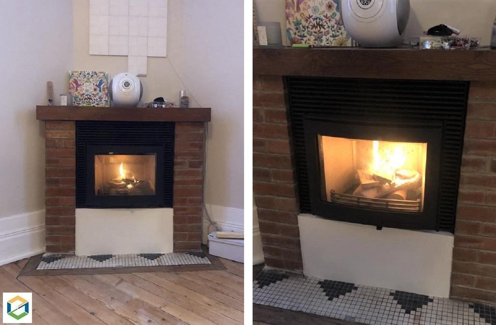 Installation d'un insert dans une cheminée ancienne et rénovation