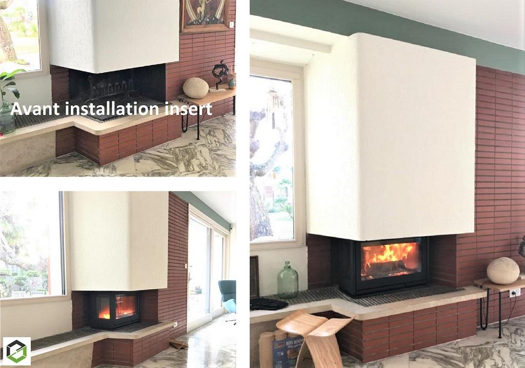 Pose et installation d'un insert dans une cheminée ouverte maison d'architecte