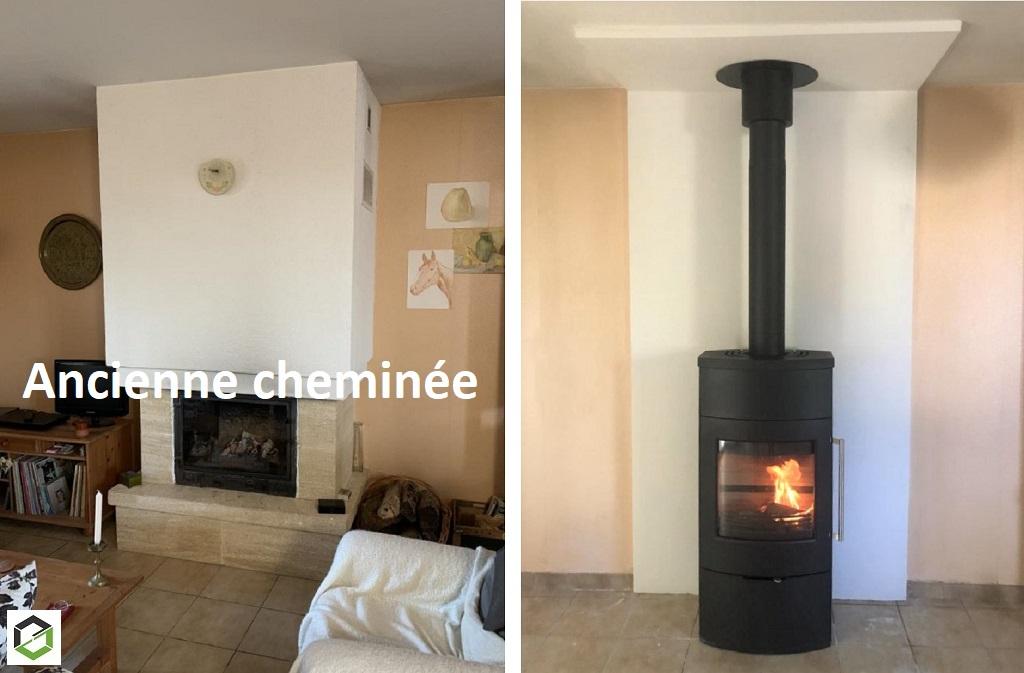Remplacement d'une cheminée insert par un poêle à bois performant flamme verte 7 étoiles