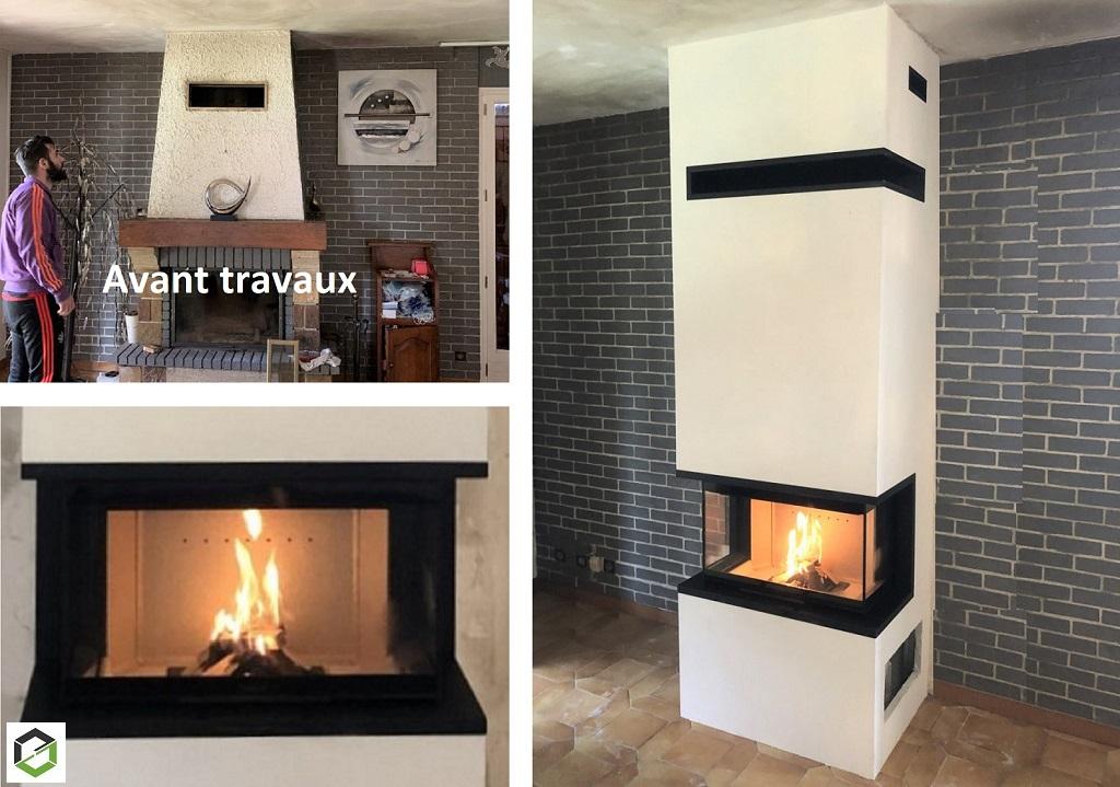 Faire installer une cheminée avec foyer trois faces et coffre silicate de calcium par un artisan RGE