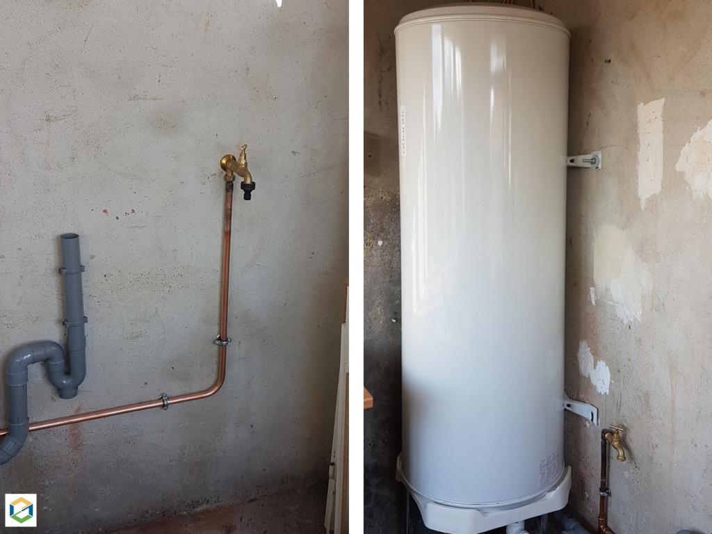 Installation chauffe-eau électrique et robinet de puisage