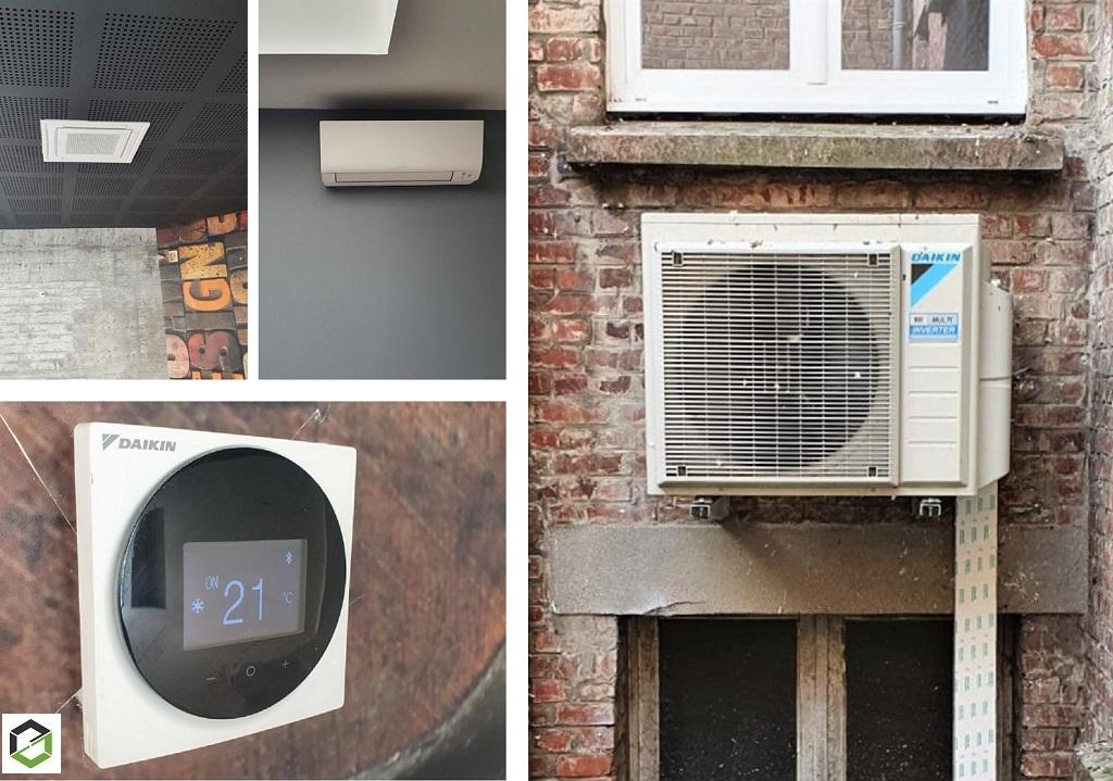 Pose d'une pompe à chaleur air/air (climatisation) réversible de marque Daikin