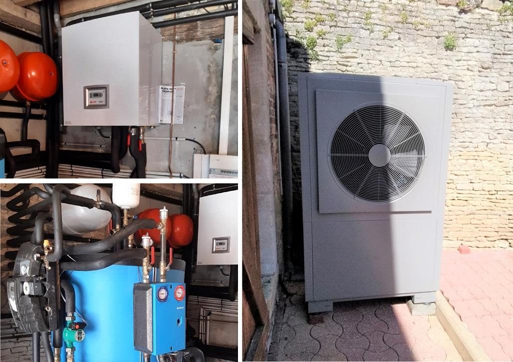 Installation solaire Hydraulique chauffage et eau chaude en appoint d'une PAC Auer