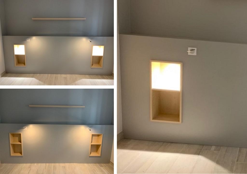 Création d'une tête de lit avec liseuses et niches incorporées
