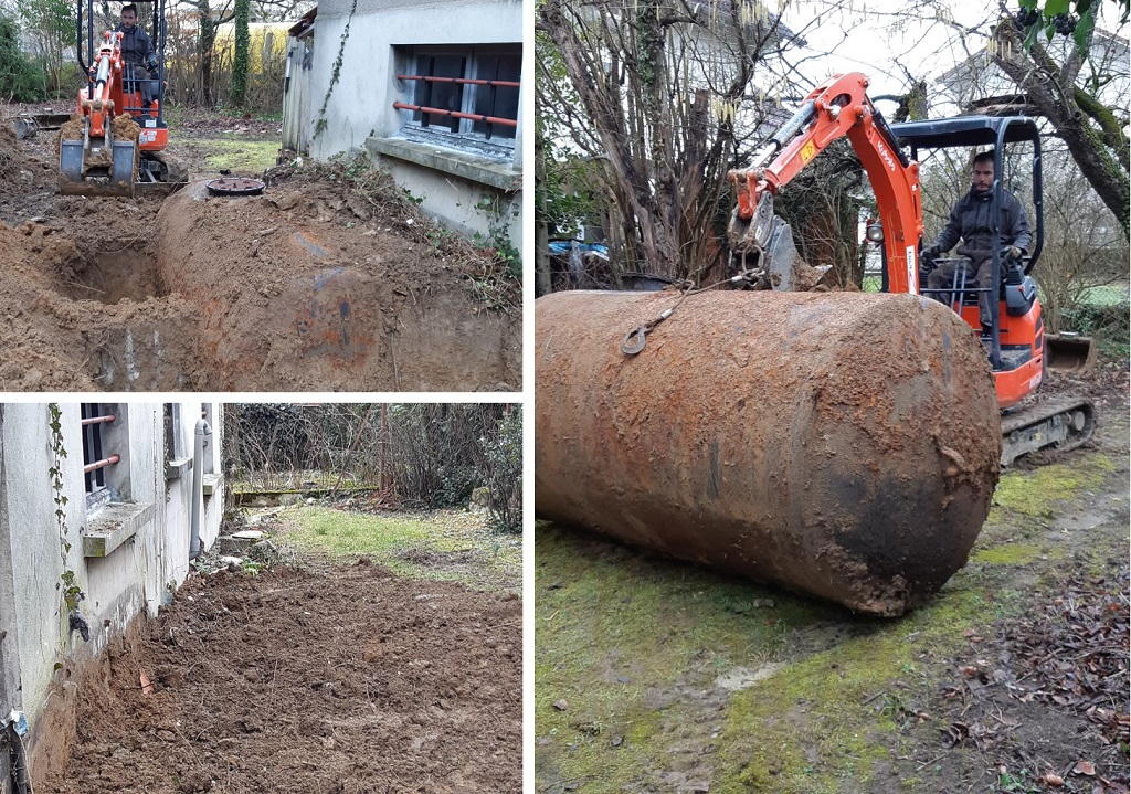 Dégazage, nettoyage et retrait d'une cuve fioul semi-enterrée de 3000 litres à VIEUX-CHARMONT (Doubs 25)
