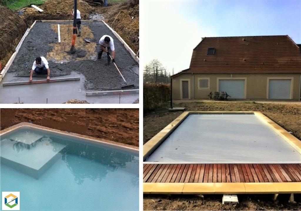 Construction piscine 8M x4M 24 DORDOGNE maçonnée