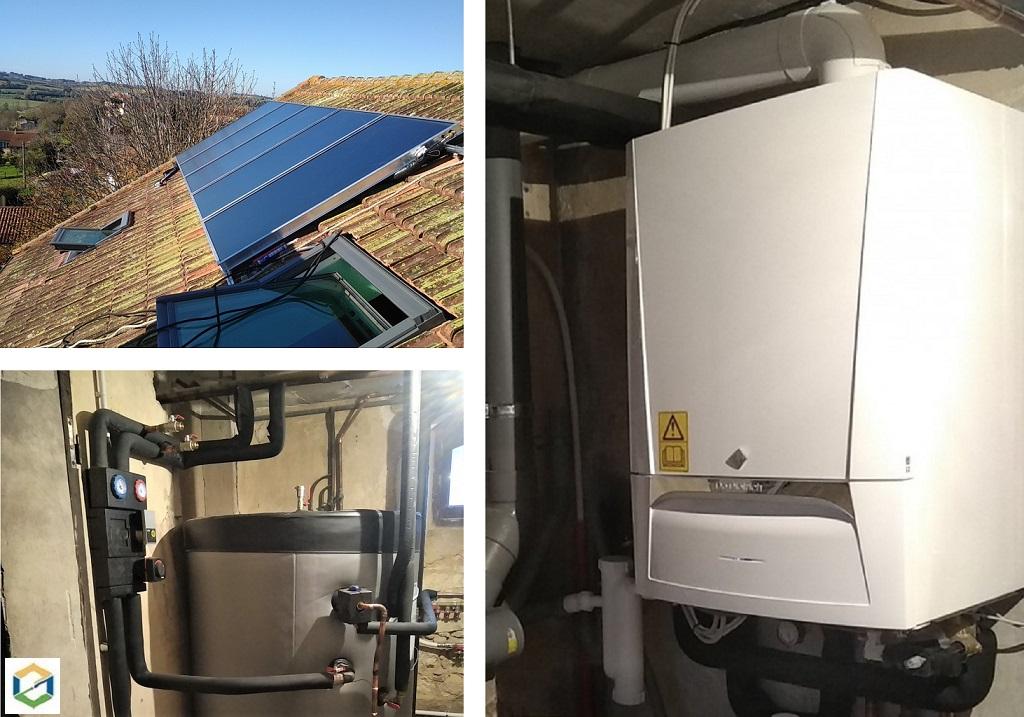Installation d'un SSC (Systèlme Solaire Combiné) avec appoint par chaudière gaz condensation