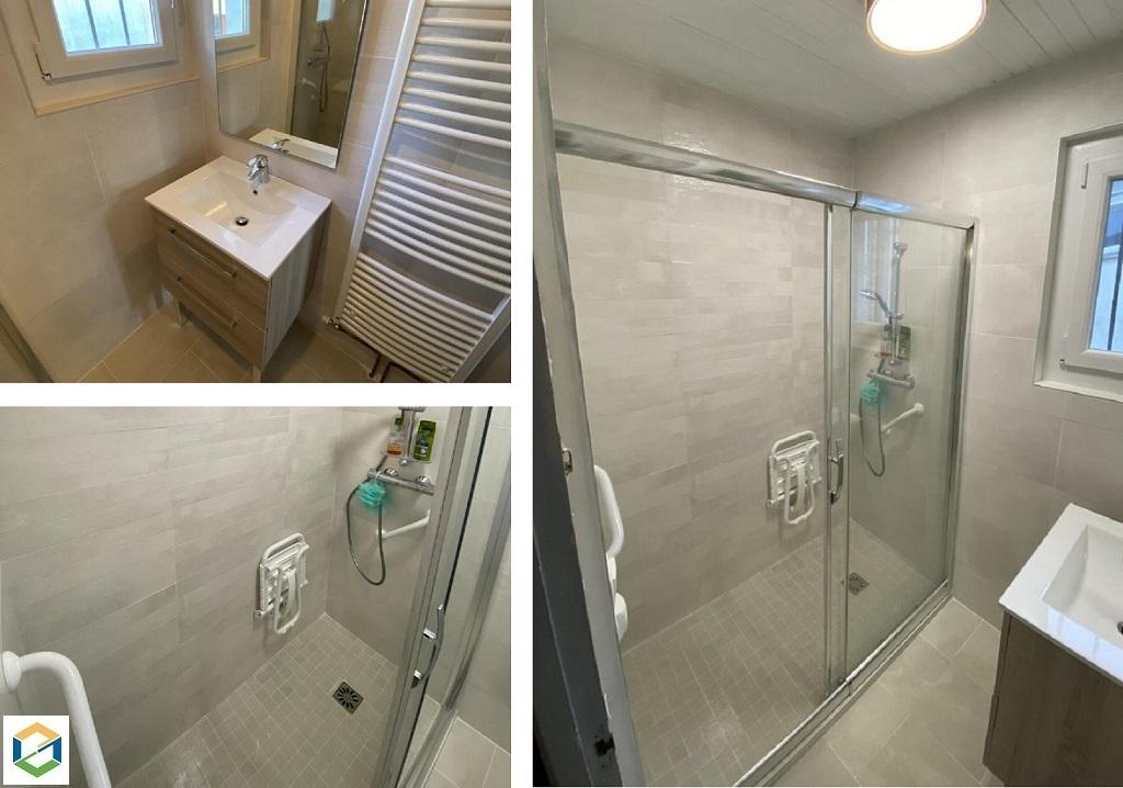 Rénovation complète d'une salle de bain pour personne à mobilité réduite