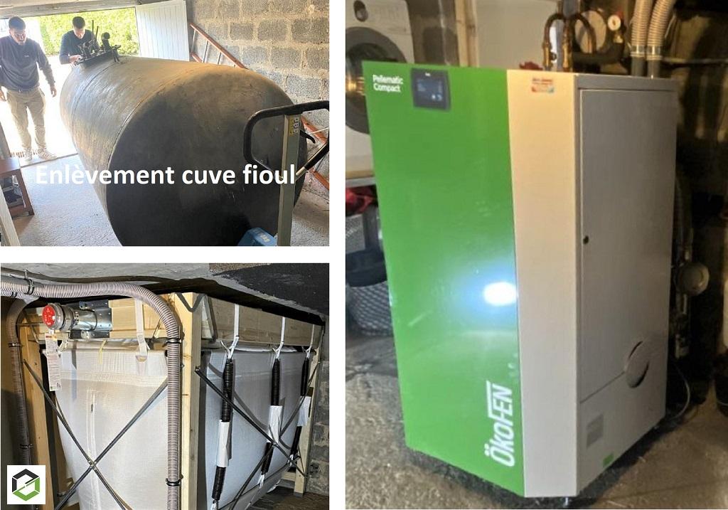 Remplacement chaudière fioul par chaudière à granulés de bois Ökofen et réfection complète chauffage central réseau cuivre, radiateurs acier.