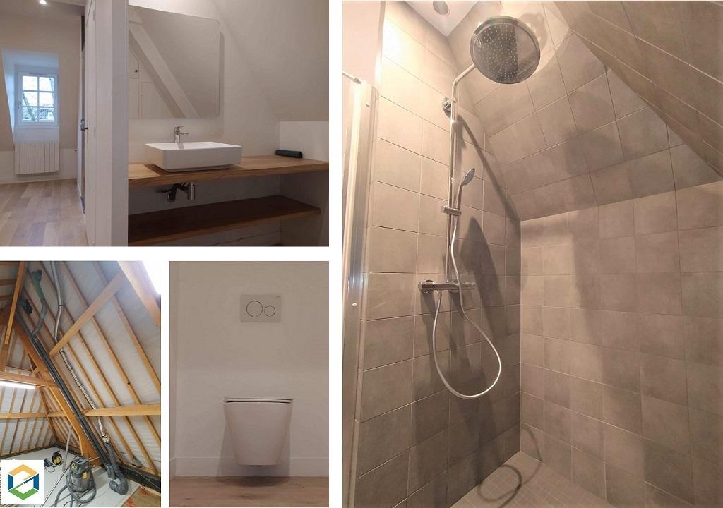 PLOMBIER RGE - Création d'une salle de bains dans une grange