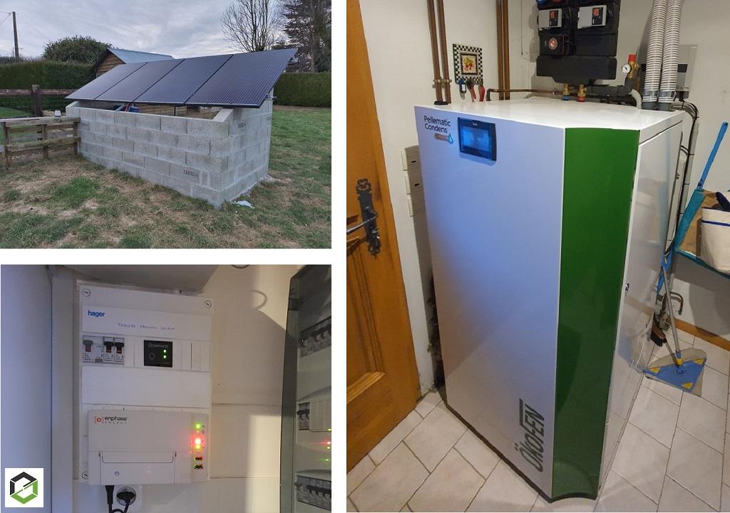 CHAUFFAGISTE RGE QUALIBOIS - Installation d'une chaudière à granulés condensations et capteurs hybrides