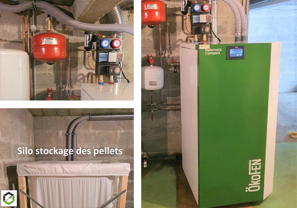 Installation d'une chaudière à granulés PELLEMATIC COMPACT puissance 14 kW