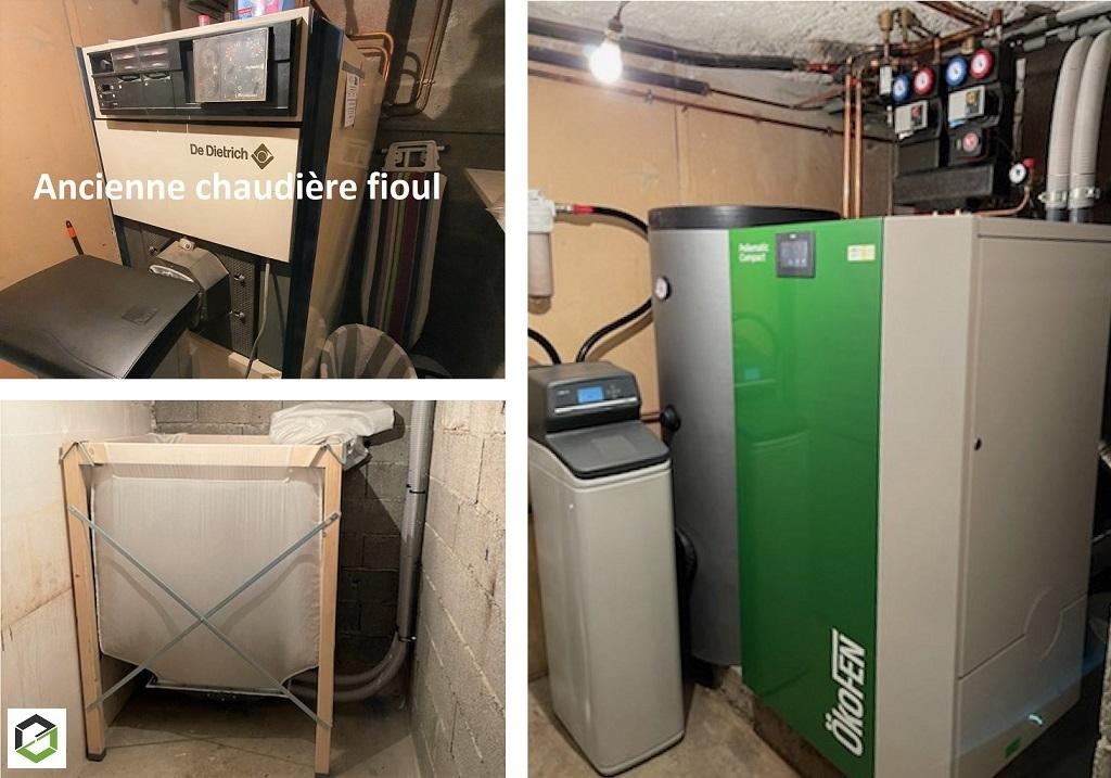 ENTREPRISE PLOMBERIE CHAUFFAGE RGE QUALIBOIS - Installation d'une chaudière à granulés et d'un adoucisseur hybride en Normandie