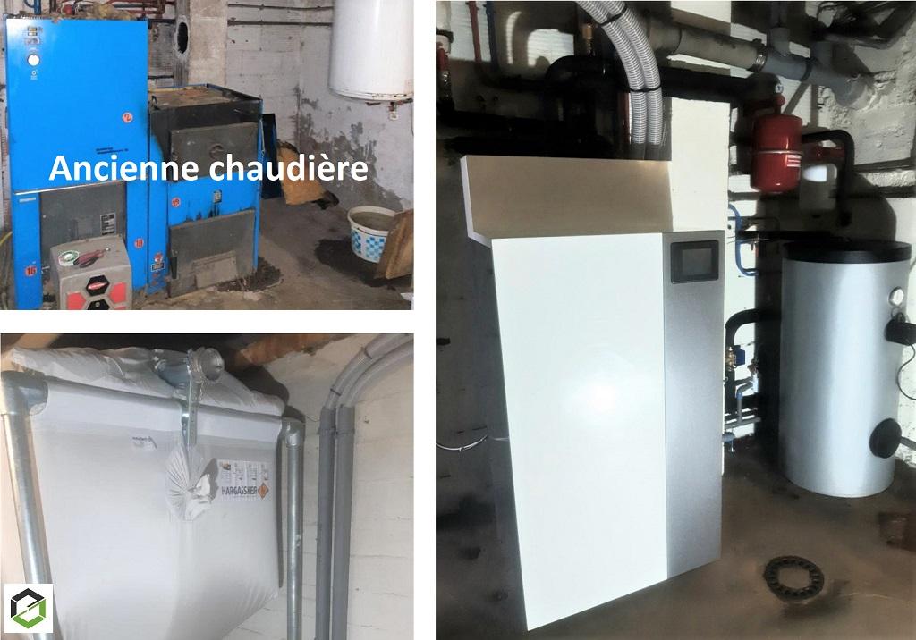Installation chaudière granulés en remplacement d'une chaudière mixte fioul/bois
