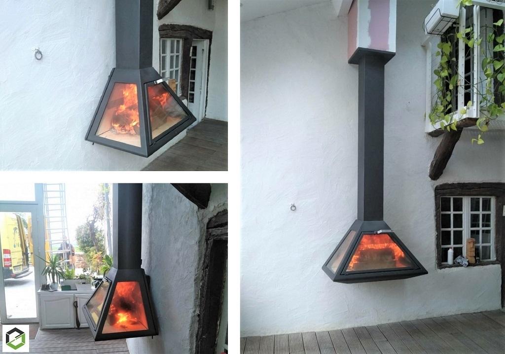 Installation cheminée métalique suspendue Vyrosa, Altea fermé