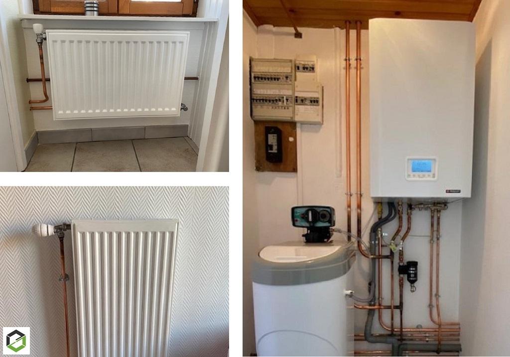 Installation d'une chaudière gaz à condensation de marque Frisquet type Hydromotrix et d'un adoucisseur d'eau