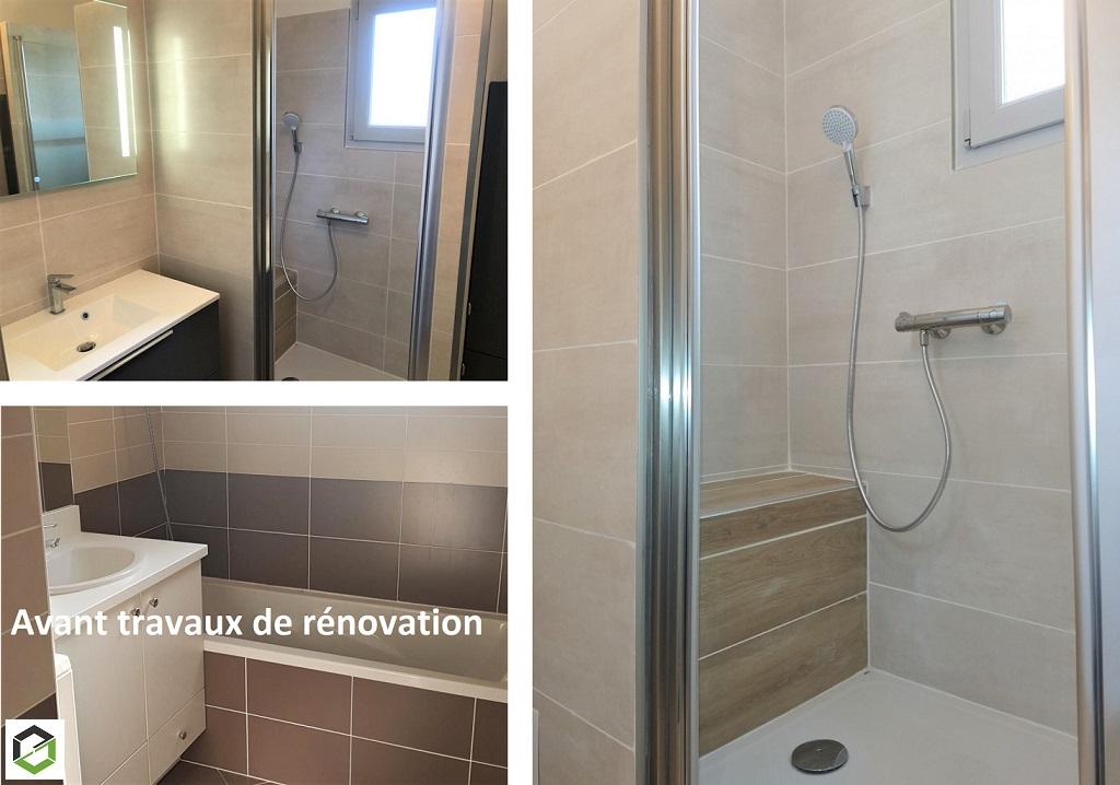 Transformation d'une salle de bain avec douche pour personne handicapée (à mobilité réduite).