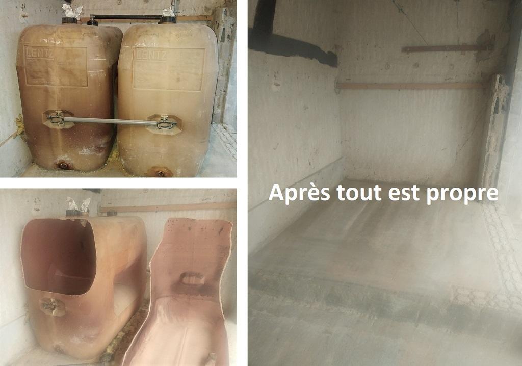 Dégazage et retrait de deux cuves fioul PVC de 1000 litres après les avoir découpées