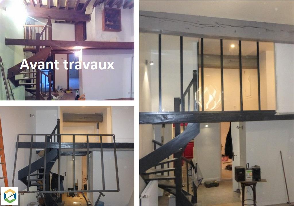 Transformation d'une mezzanine en chambre avec une verrière