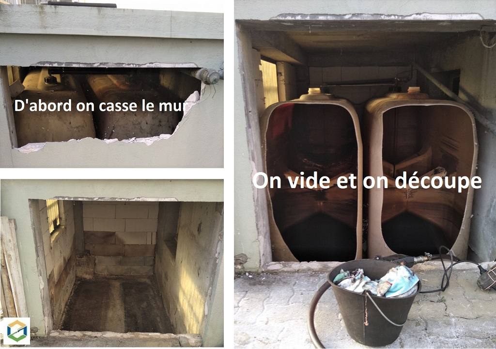 DEMOLITION D'UN MUR DE RETENTION ET EVACUATION DE 2 CITERNES PVC