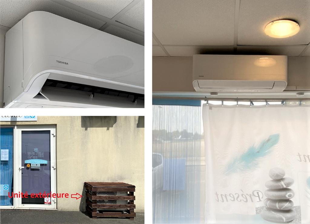 Installation d'une pompe à chaleur air/air (climatisation réversible) TOSHIBA à Escale Beauté Détente-Gironde (33)