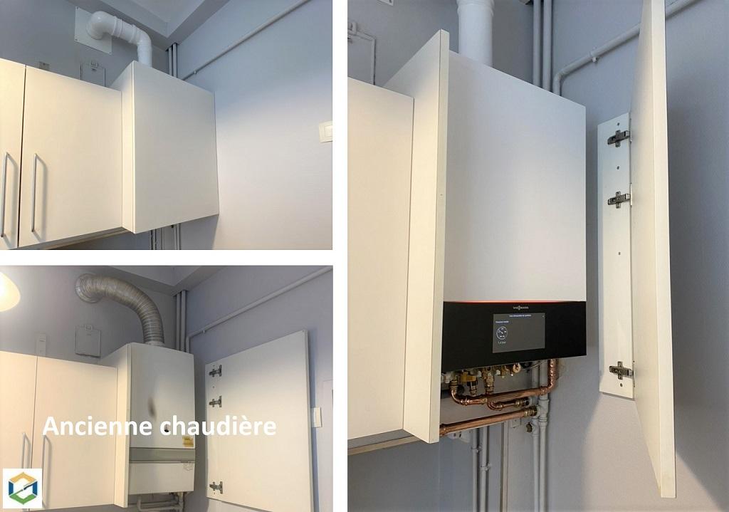 Remplacement d'une chaudière gaz Saunier par une chaudière condensation Viessmann Vitodens 200-W
