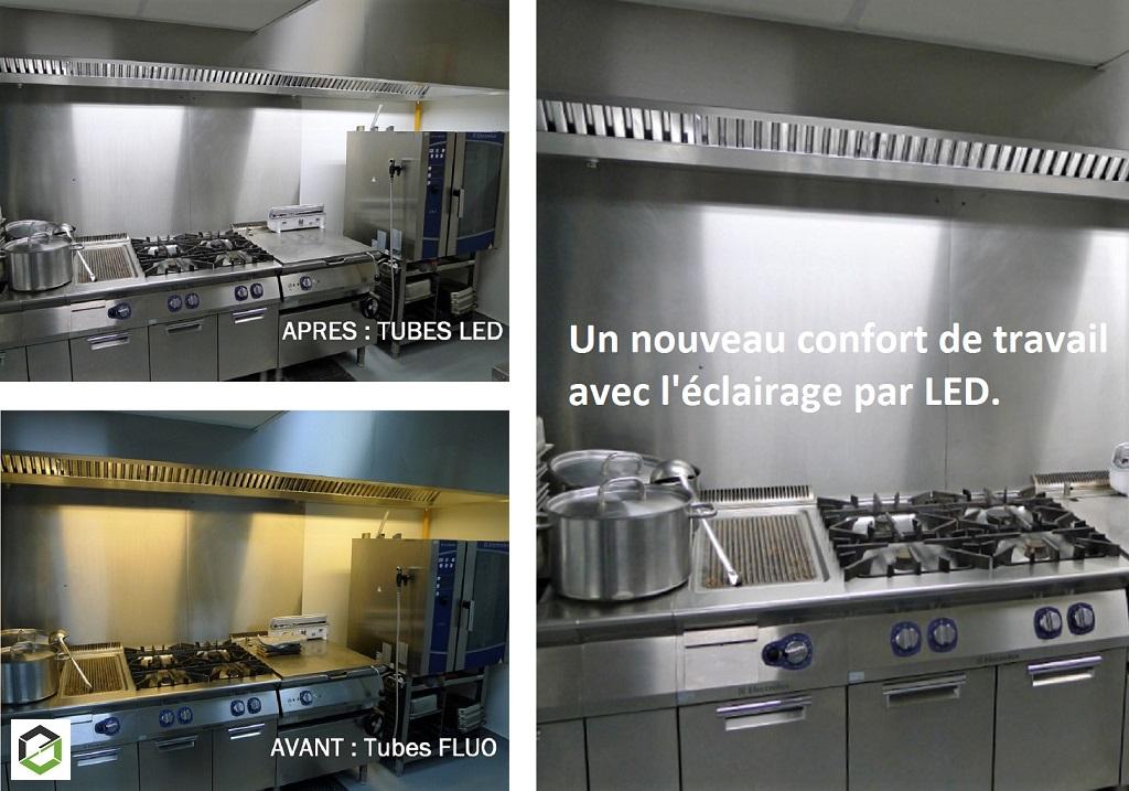 Modernisation d'un éclairage de cuisine professionnelle